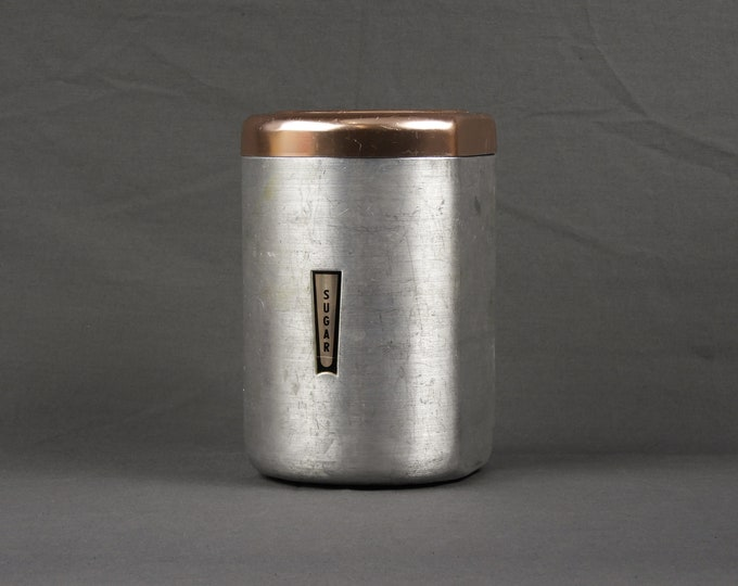 Vintage Kitchen Canister, Mid Century, Distress Sugar Can, Aluminum & Copper, Food Storage, Silver Color, Home Decor, Metalware Collectible
