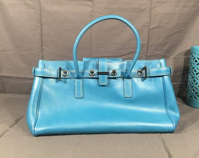 Vintage Nordstrom Leather Handbag, Blue & Pink Designer Hobo Bag, Large Genuine Leather Purse, Decorative Business Bag, Retro Blue Shopper