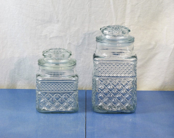 Vintage Glass Canisters (2), Square Anchor Hocking, Clear Apothecary Jars, Wexford Diamond & Gingham, Counter Decorations, Cookie Storage