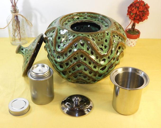 """Vintage Incense Holder, Ceramic Wavy Side Canister, Large Green Black Spot Incense Oil Burner, Ceramic Oil Difus Incense Burner 7.5"""""""