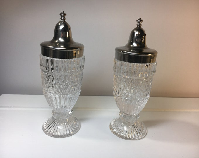 Vintage Formal Shakers, Glass & Metal, Salt and Pepper,. Clear Pedestal Base, Silver Top Diamond Ribbed Shakers, Heavy Metal Lid, Serving