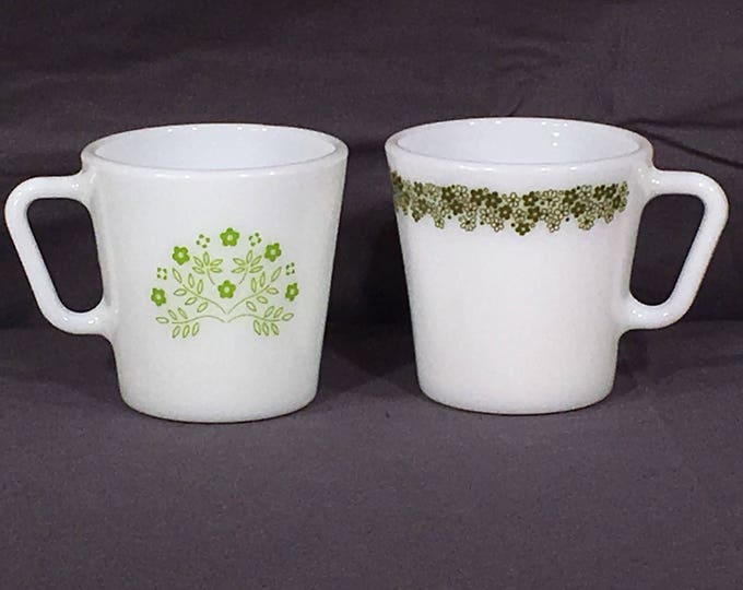Vintage Pyrex Mugs, Decorative Green & White Coffee Cups, Crazy Daisy Mug, Honeydew Summer Impressions Cup, Milk Glass Dinnerware