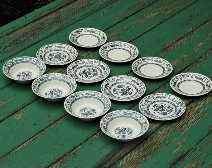 Vintage Blue Onion Dinnerware (12 pcs), Blue White China, Decorative Dishes, Four Pie Plates, Four Saucers, Four Bowls, Wedding Gifts