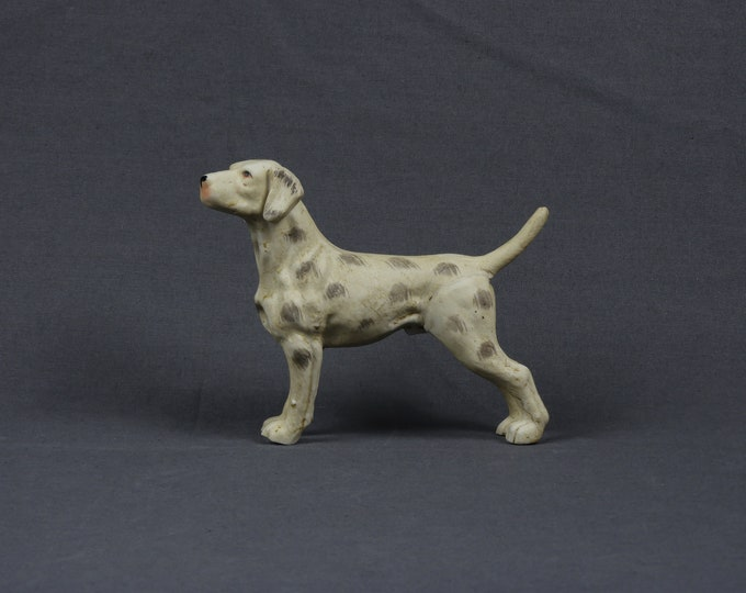 Vintage Dog Figure, Rare Dalmatian, Bisque Porcelain, Matte Finish, Antiqued White, Gray Spots, Hunting Stance, Canine Figurine, Home Decor