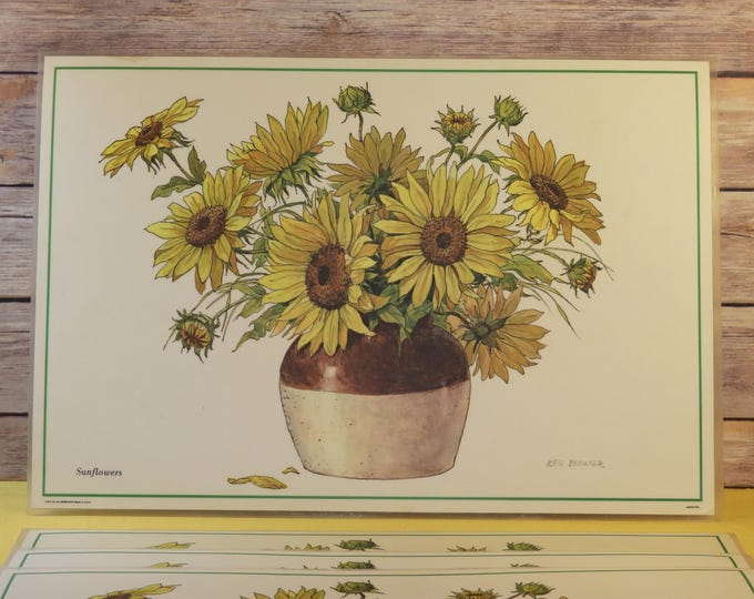 Vintage Retro 1975 Sunflower Placemats (6), Ken Bower Picture Mats, Country Table Cover, Yellow Brown White Decorative Kitchen Double Sided
