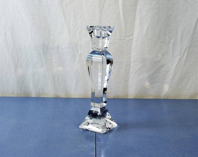 "Vintage Towle Candlestick, Art Deco Candleholder, Crystal Candle Holder, Clear Heavy Glass, 9.75"" Home Decor, Decorative Glassware"