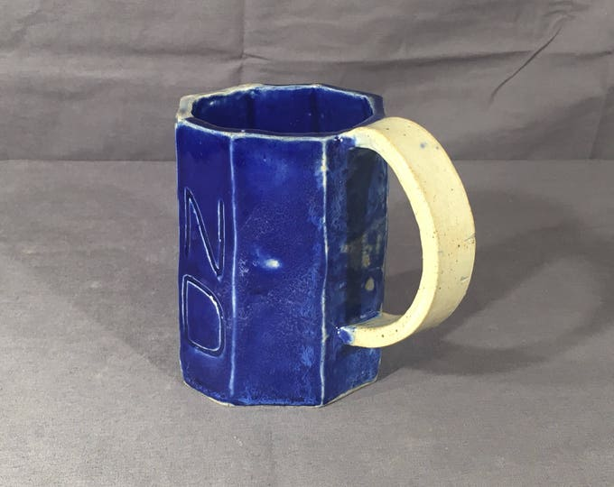 Vintage Cobalt Blue Stoneware Mug, Decorative 8 Panel Stone Cup, Old Country T W Dinnerware, Distressed Cloudy Blue Coffee Cup, Pottery Art