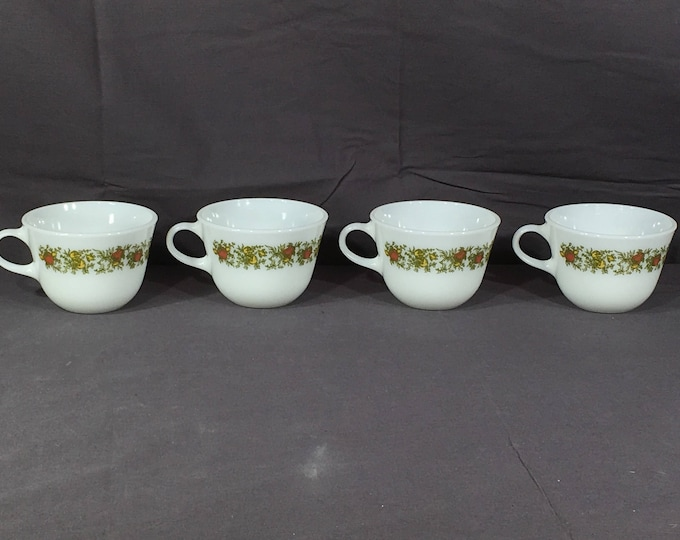 Vintage Pyrex Teacups (4), Spice of Life Tea Cup Set, White Green Yellow Coffee Mugs, Collectible Milk Glass Dinnerware,Decorative Glassware