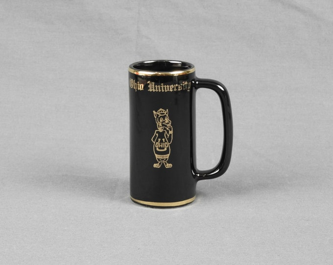 Vintage School Mug, W C Bunting Pottery, Ohio University, Mr Bobcat Mascot, Black Souvenir Cup, Ceramic Collectible, Home Decor, Wellsville