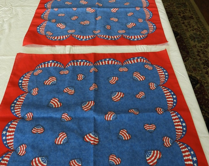 "Vintage Americana Handkerchiefs (3), Red White Blue Heart Flag Cloth,Independence Day July Folk Art Bandana, 21"" x 21"" RN15582 Springs Craft"