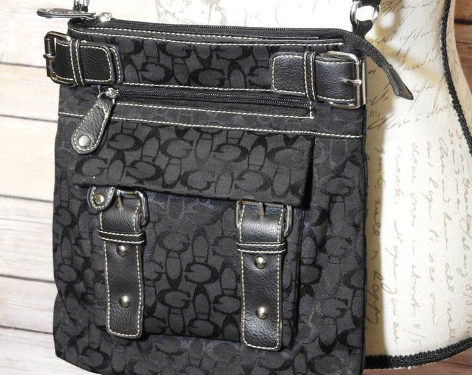 "Vintage Black ""G"" Tote Crossbody Bag Hand Bag, Black Crossbody Shoulder Bag, Black Canvas & Leather Tote Bag, Made in China"