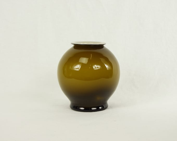 Vintage Brown Vase, Blown Art Glass, Ombre Swirl, Round Globular, Footed Base, Home Decor, Entryway Decoration, White Interior