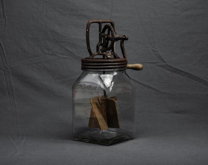 Antique Dazey Churn, Butter Jar, Embossed Glass, 4 Quarts, Square Bottom, Rustic Iron, Primitive Tool, Kitchen Decor, Wood Paddles