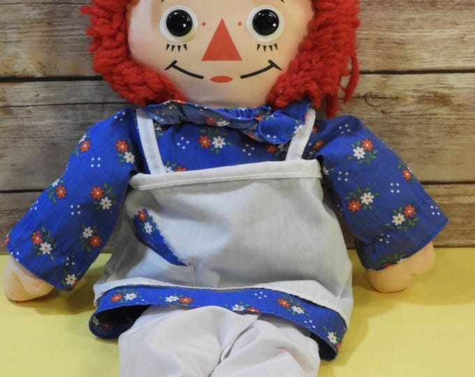 "Vintage Raggedy Ann Toy Doll, Playskool Collectible Toy, Red Blue White Medium 18"" Tall, Decorative Childrens Bedroom Gift Idea, Retro Doll"
