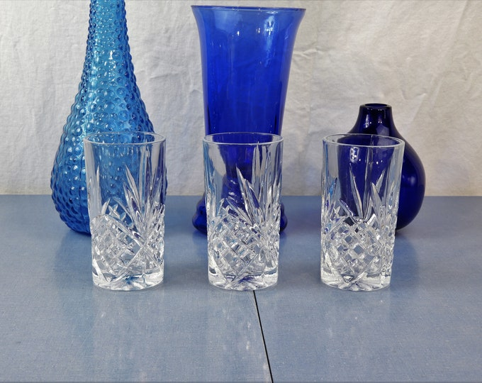Vintage High Ball Tumblers, Nachtmann Glasses, Clear Cut Glass, Glass Dinnerware, Pineapple Pattern, Thick Heavy Glassware, Kitchen Decor