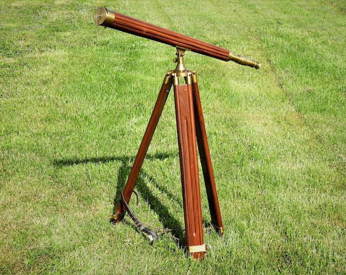 Vintage Wood & Brass Telescope, Nautical Folding Tripod Scope, Gold Brown Home Decor, Astronomy Equipment, Moon and Stars Instrument