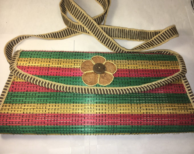 "Bamboo Woodlook Purse Shoulder Strap Rainbow Look Purse Green Gold Red, 5 Petal Flower at Button, Latch Button, Leather Look Sides 11"" long"