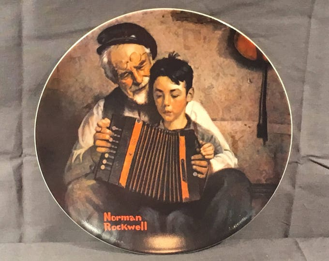 Vintage Norman Rockwell Collectible, 9449A Limited Edition Plate, The Music Plate, Decorative Ceramic Art, Brown 1981 Collectors Plate