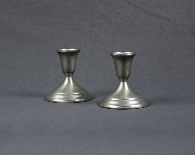 Vintage Candle Holders (2), Towle Pewter, Candlestick Holder, Brushed Metal, Silver Gray, Round Base, Raised Sconce, Home Decor, Light 7667