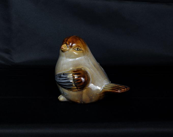 Vintage Bird Figure, Stoneware Statue, Brown & Gray, Sparrow Figurine, Collectible Ceramics, Home Decor, Wedding Gift