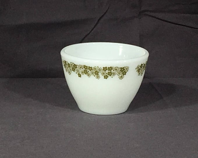 Vintage Crazy Daisy Cup, Corning White Milk Glass Cup, Decorative White Green Floral Tea Cup, Little White Bowl, Glass Dinnerware, Glassware