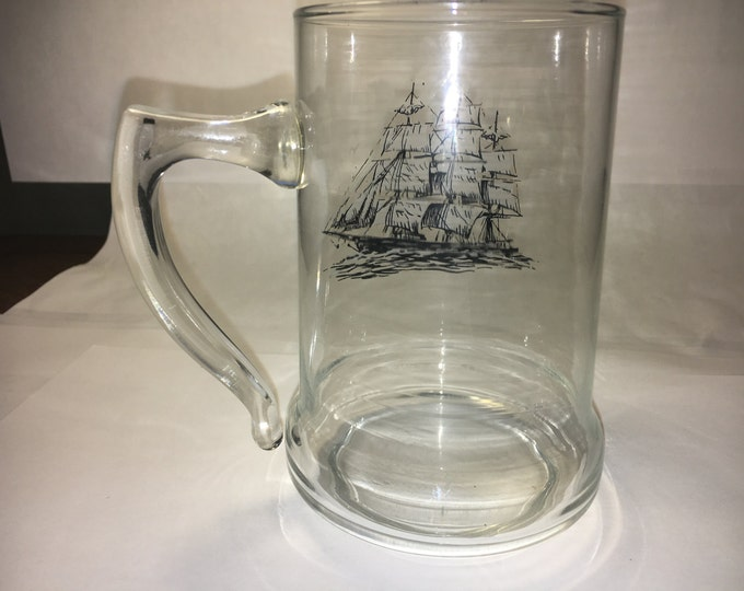"Vintage Clear Glass Schooner Mug w/ Whitesail Ship on Side Large Handle 5"" tall"