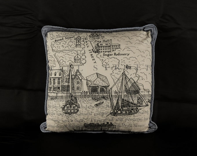 Vintage Accent Pillow, Wall Street, Gray Square Cushion, New Republic, New York Harbor, Broad Street, Sugar Refinery, Map Cover, Home Decor
