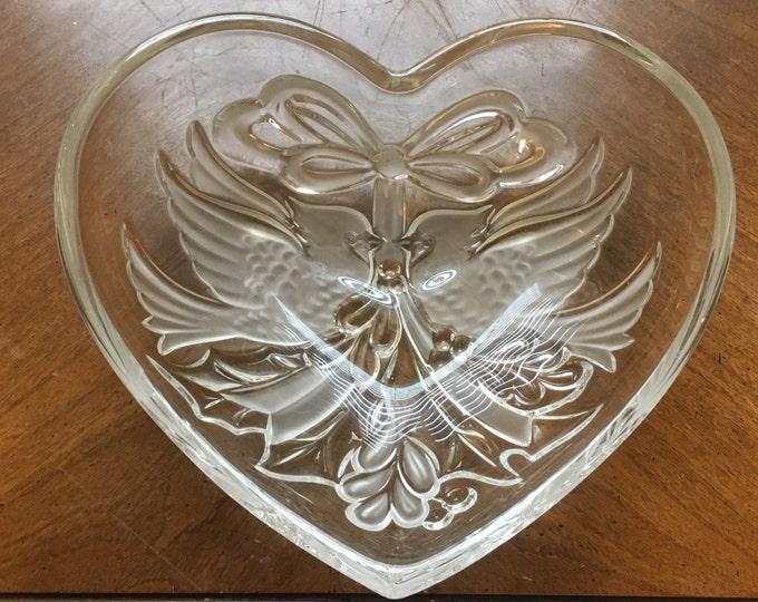 Vintage Gorham Dish, Ear Ring Dish, Glass Bowl, Modern GORHAM Crystal Dish, Cardinals 1831 Christmas Traditions Collection, Decorative Dish
