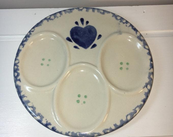 """Vintage Blue Heart Spongeware Plate, Blue & White Deviled Egg Platter Tray Plate, World Bazaar Egg Plate, Spongeware Tray, made in China 6"""""""