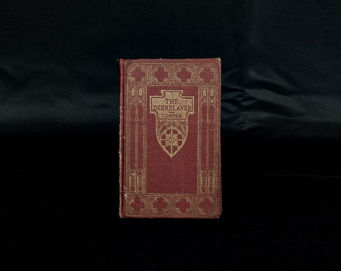 Vintage Pioneer Book, James Fenimore Cooper, Small Hardback, Leatherstocking Tales, Burgundy Red, Distressed & Aged, Home Decor, Collectible