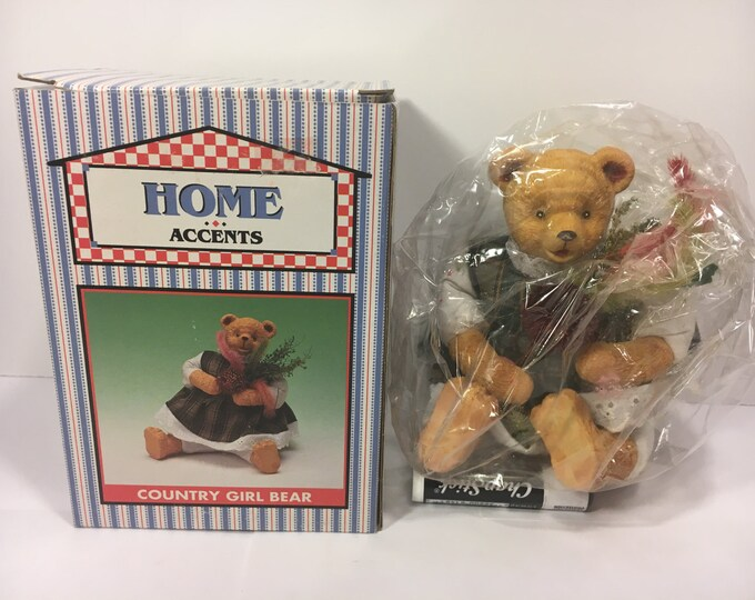 Vintage Teddy Bear, Country Girl Bear, Green Dress Home Accents By World Bazaar Item 48331 Made in China