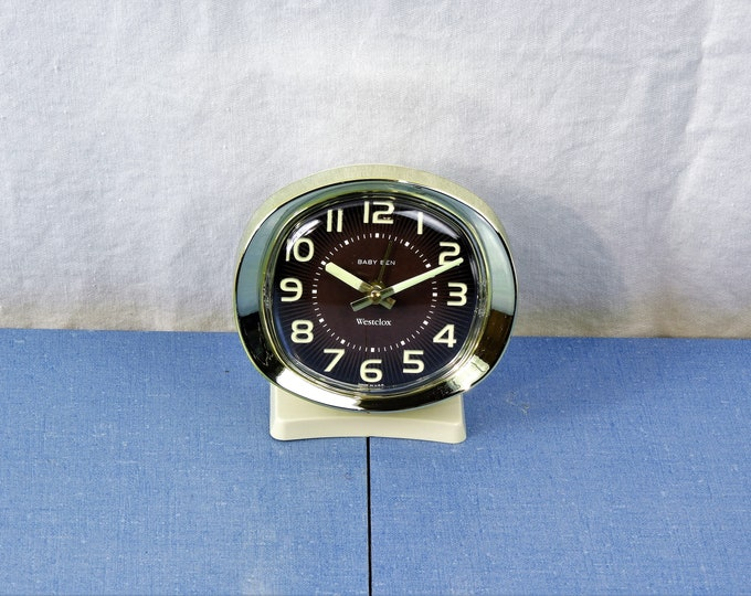Vintage Baby Ben Clock, Brown Westclox Alarm, Glow In Dark, Brown Face, Off White Body, Oval Front, Made in USA