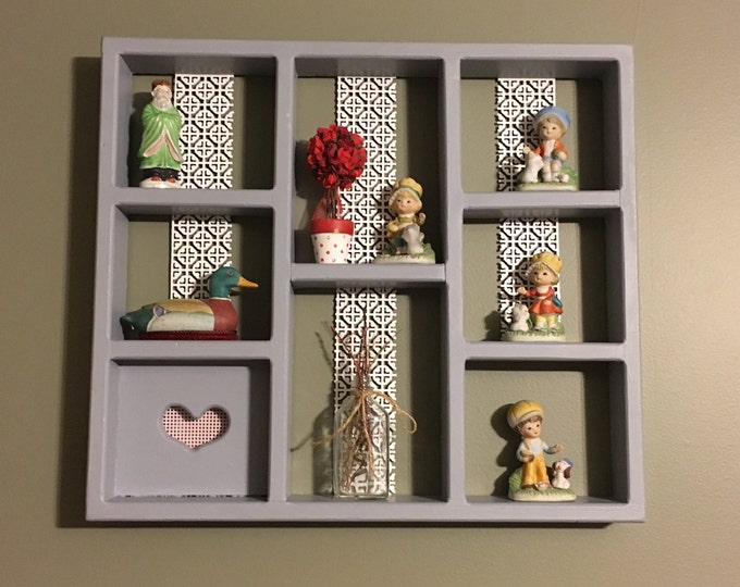 Shadow Box Shelf, Vintage Collectibles Display, Valentines Shadowbox Shelf, Gray White Lace Love Shelf, I Love You Shelf, Pink Heart Design