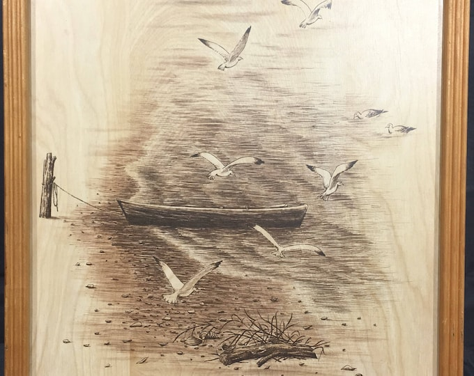Vintage Wood Picture, Gold & Black Boat Beach Wall Art, Seagulls Wildlife Framed Collectible, Decorative Harbor Scene, Fishing Lodge Art