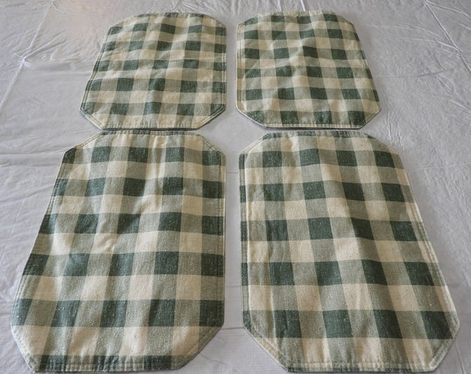 Vintage Country Green Placemats (4), Oval Checker Decorative Folk Country Table Decor, Double Sided Dinner Centerpiece Craft, Retro Kitchen