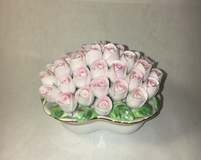 Vintage Porcelain Pink Rose Blossoms (41) Filled Heart Shape Decorative Vanity Art, Collectible Pink White, Made in China