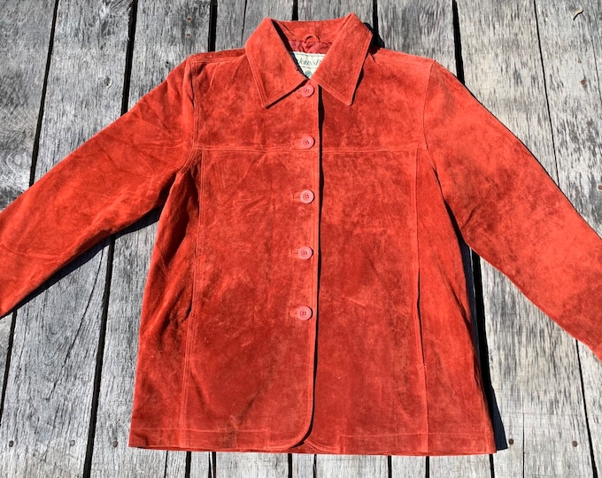 "Vintage Suede Jacket, 43"" Bust, Suede Leather, Rust Red, Petite Medium, St Johns Bay, Washable Jacket, Casual Fashion, Made in China"