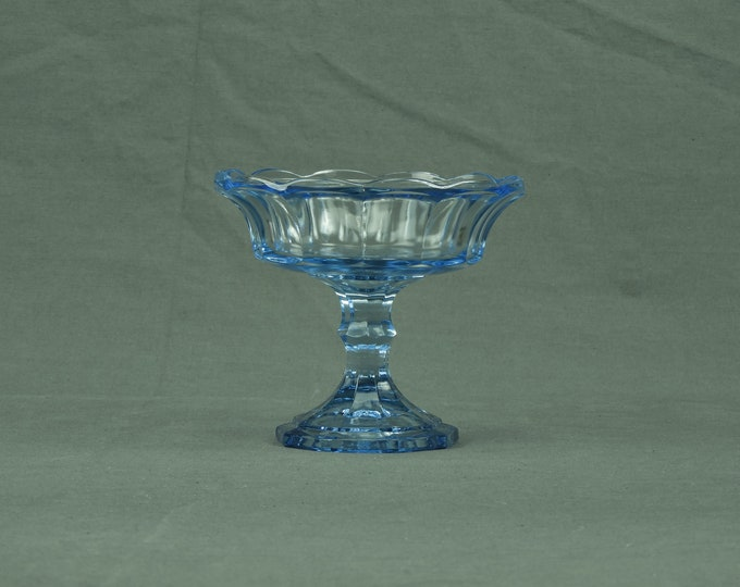 Vintage Candy Dish, Fostoria Glass, Jamestown Blue, Virginia Style, Collectible Compote, Pedestal w/ Foot, Home Decor, Scalloped Bowl