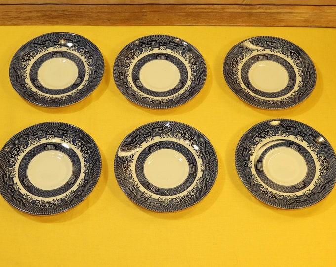 Vintage Churchill Saucers (6) , Blue Willow Tea Plates, Fine China Dinnerware, Oriental Tea Cup Saucers, Decorative White Plates