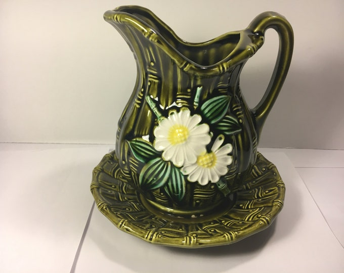 "Vintage Water pitcher, Decorative Vase, Pitcher Green Ceramic Blooming Bamboo Pitcher Small w/Plate Floral Pitcher made in Japan 6"" tall"