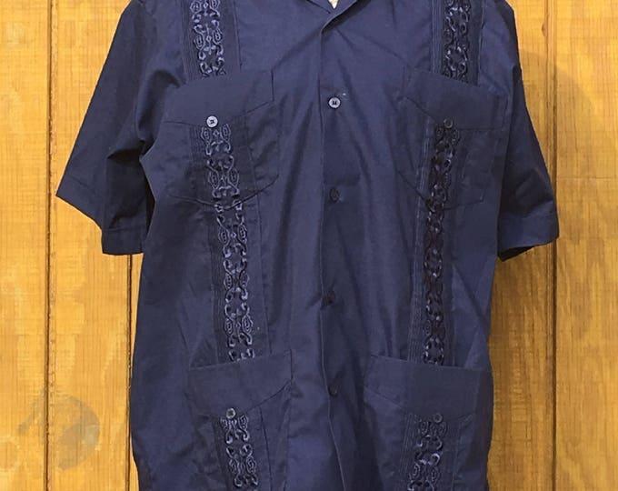 Vintage Men's Guayabera, Men's Medium Navy Blue Shirt, NSC Ca. Embellished Latino Guayabera Button Down, Short Sleeve Men's Clothing