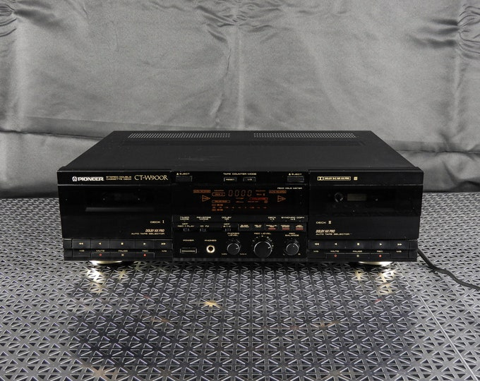 Vintage Pioneer Stereo, Dual Cassette, Tape Player, CT-W900R Deck, Electronic Recorder, Dolby HX Pro, Home Decor, Black & Gold