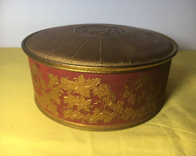 Vintage Guildcraft Gold & Red Decorative Tin Box Basket, Vanity Storage Box, Coat of Arms Storage Container, Decorative Embossed Box Tin,USA