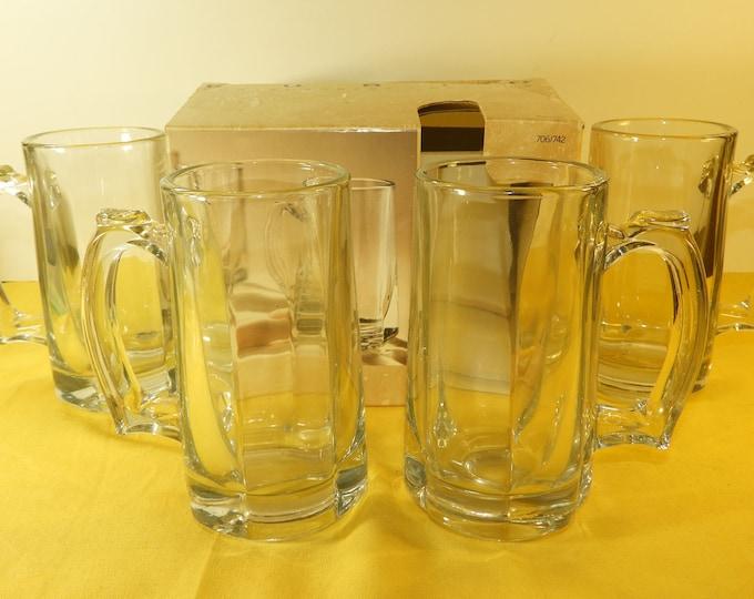 Vintage Mugs Glass Oxford 12 oz. Mugs (4), Furio Contemporary Casuals Heavy Glass Mugs in Original Box,Oxford Mugs,DHC 1995 Made in USA