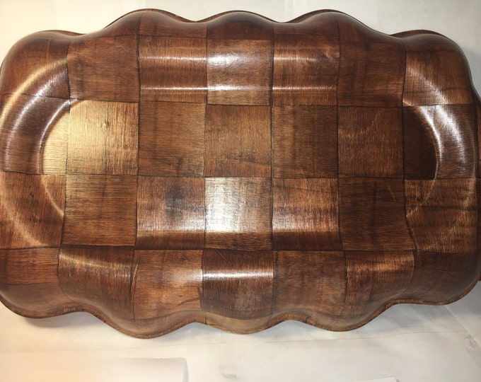 """Vintage Weave Wood Platter, Wooden Kitchen Decor, Brown Wood Tray, Medium to Dark Stain Serving Tray 18.75"""" Long 10 7/8"""" Wide"""