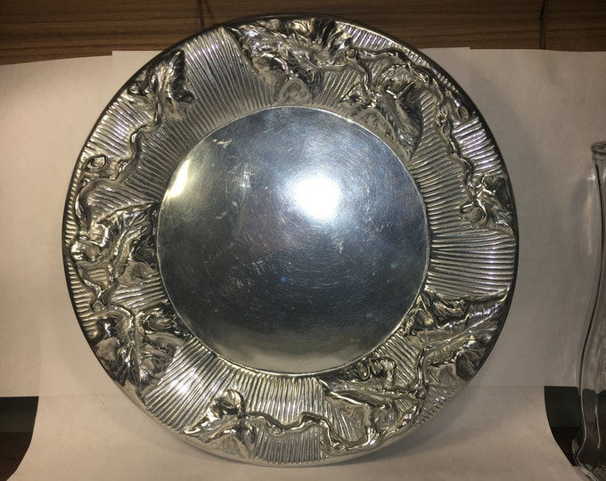 "Vintage Solid Pewter Plate, Silver Serving Platter, Decorative Wilton Evans Platter, Armetale 14"" Plate, Polished Pewter Metal Art"