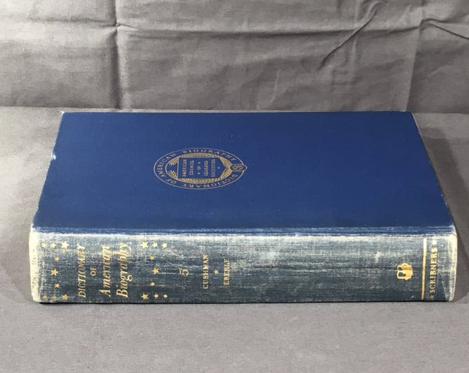Vintage 1930 Dictionary, Dictionary of American Biography, Decorative Blue & Gold Book, American Council of Learned Societies, Scribner Book