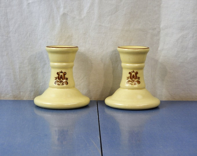 Vintage Pfaltzgraff Candleholders, Village Beige Brown, Short Candle Holders, Decorative Chamber Sticks, Ceramic Decor, Entryway Decoration