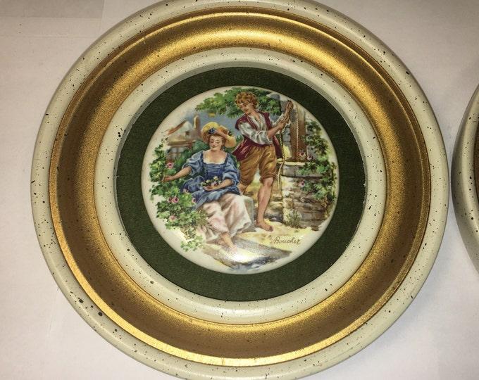 Vintage Rare Set (2) Round Boucher Medallion w/Gold Wood Trim Wall Hanging Maiden Lad Field and Well Scenes
