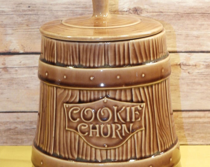 Vintage Cookie Jar, McCoy Canister, Brown Churn, Barrel Keg, Home Decor, Country Kitchen, Storage Container, Retro Jug, Collectible Ceramic